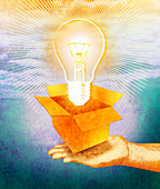 Hand holding open box with bulb, illustration