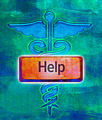 Caduceus with red help button, illustration