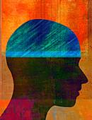 Ledger book in profile of man's head, illustration