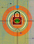 Eye looking through padlock, illustration