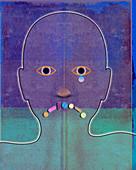 Face of depressed man crying, illustration