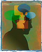 Man with many speech bubbles inside head, illustration