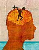 Strongman lifting barbell inside man's brain, illustration
