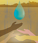 Hands reaching for water drop, illustration