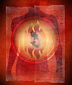 Illustration of burning heart, illustration