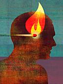 Man with burning match inside of head, illustration