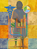 Hospital patient and cost of medical insurance, illustration