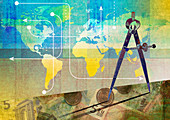 Pair of compasses measuring the global economy, illustration