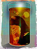 Depressed woman trapped inside bottle, illustration