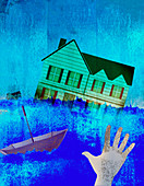 Hand reaching out to house swept away, illustration