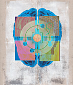 Jigsaw puzzle pieces connecting over brain, illustration