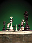 Marble chess pieces, illustration