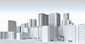 White city skyscraper buildings, illustration