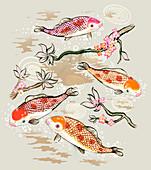 Koi fish swimming in pond, illustration
