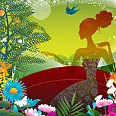 Woman surrounded by flowers, illustration