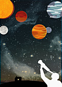 Man looking up at stars and planets, illustration