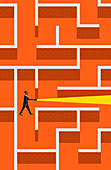 Businessman with torch lost in brick wall maze, illustration
