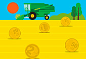Harvester in field of euro coin hay bales, illustration