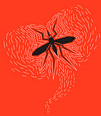 Mosquito buzzing, illustration