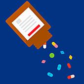 Pills falling from medicine bottle, illustration