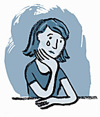 Unhappy woman crying, illustration