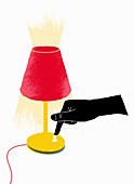 Hand turning on lamp, illustration