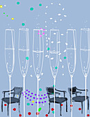 Row of champagne flutes, illustration