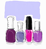 Pink and purple nail varnish bottles in a row, illustration