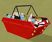 Plastic packaging recycling, illustration