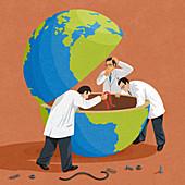 Puzzled scientists mending broken globe, illustration