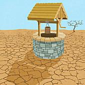 Water well in desert, illustration