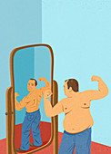 Overweight man looking at himself in mirror, illustration
