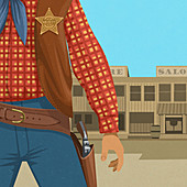 Wild West sheriff ready to draw gun, illustration