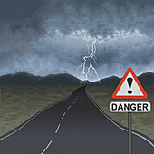 Empty road with storm ahead, illustration
