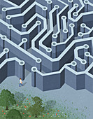 Teenager leaving circuit board maze, illustration