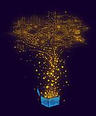 Illuminated dots forming city, illustration