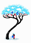 Woman watering village tree, illustration