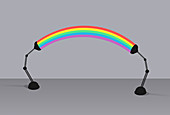 Rainbow arc connecting two desk lamps, illustration