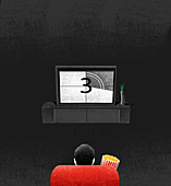 Man with popcorn watching television, illustration
