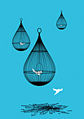 Freed bird flying away from broken birdcage, illustration