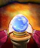 Hands of fortune teller holding ball, illustration