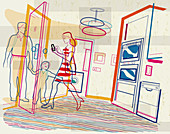 Woman leaving house checking smart phone, illustration
