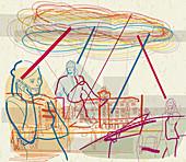 People communicating using mobile phones, illustration