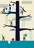 Workers using teamwork to assemble tree, illustration