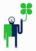 Smiling man holding four leaf clover, illustration
