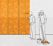 Men wall with floral wallpaper pattern, illustration