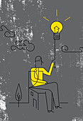 Man switching on light bulb for home, illustration