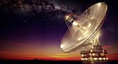 Radio telescope at night, illustration