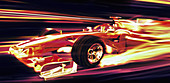 Formula one racing car moving at speed, illustration