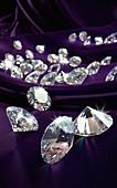 Diamonds on purple silk cloth, illustration